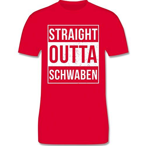 Schwaben Männer - Straight Outta Schwaben Weiss - L190 Schlichtes Männer Shirt Rot