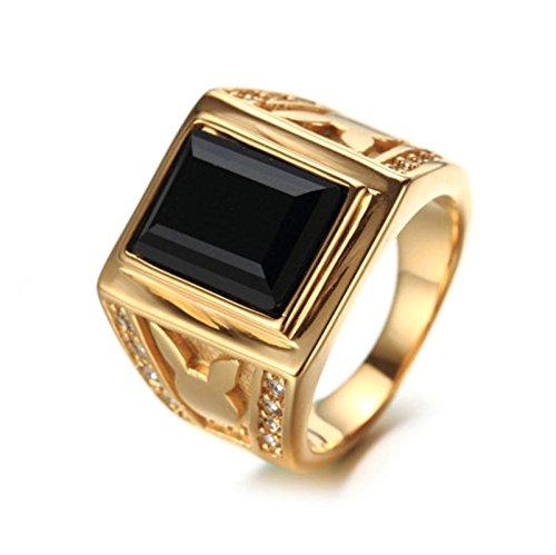 Bishiling Modeschumck Edelstahl Ring für Herren Schwarz Zirkonia Kaninchen Partnerringe GoldringRinggröße 62 (Kostüm Jährige Für Elefanten 8)