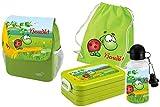 Mein Zwergenland Set 5 Kindergartenrucksack mit Brotdose Maxi, Turnbeutel Baumwolle und Flasche Happy Knirps Next Print mit Name Schildkröte, 4-teilig, Grün