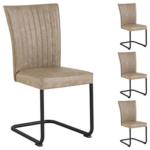 CARO-Möbel 4er Set Esszimmerstuhl Küchenstuhl Schwingstuhl Alamo aus Wildlederimitat in beige, Gestell aus Metall mit Strukturlack in...