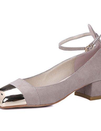 WSS 2016 Chaussures Femme-Habillé / Décontracté / Soirée & Evénement-Noir / Amande-Gros Talon-Talons / Bout Carré-Talons-Cuir almond-us5 / eu35 / uk3 / cn34