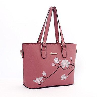 Damenmode bestickt PU Leder Schulter Messenger Bags/Handtasche Tote Dark Red