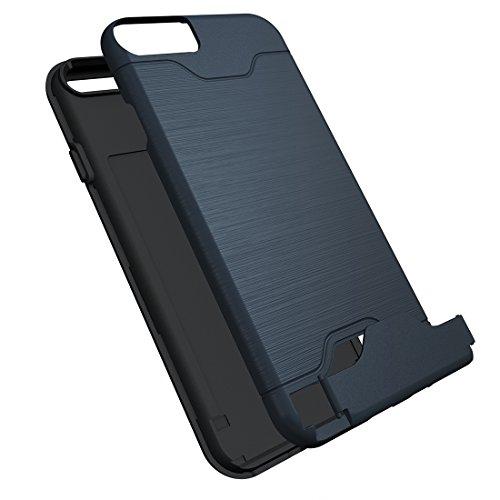 iPhone Case Cover Pour iPhone 6 & 6s texture brossée TPU séparable + affaire PC Combinaison arrière avec slot pour carte et support ( Color : Green ) Dark blue