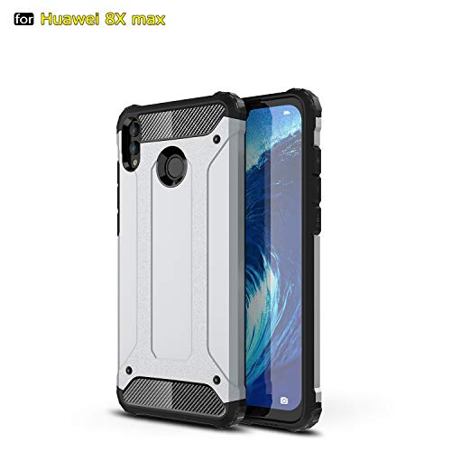 SANHENGMIAO COVER Für Huawei Handy Schwerlast gepanzerte Hartpanzer-Doppelhülle aus Hartpanzer für TPU + PCU + Schutzhülle für Huawei Honor 8X Max (Farbe : Silber) -