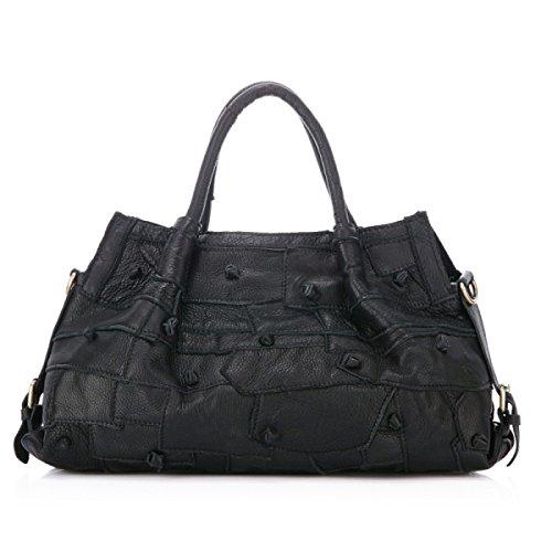 Damen Leder Umhängetasche Handtasche Black