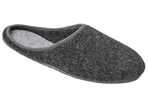 GIBRA® Chaussons en feutre avec semelle en feutre - fabrication allemande - noir - taille 38-50 - noir -