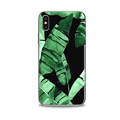 Coque iPhone X Housse étui-Case Transparent Liquid Crystal en TPU Silicone Clair,Protection Ultra Mince Premium,Coque Prime pour iPhone X-Les feuilles-style 5 5
