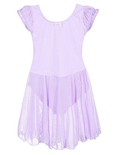 rm Ballettkleid aus Baumwolle mit Flügelärmeln in rosa, schwarz, pink und lila für 8-10 Jahre (Tanzsport Kostüm Muster)
