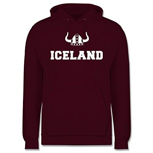 Länder - Iceland + Wikingerhelm - Männer Premium Kapuzenpullover / Hoodie Burgundrot