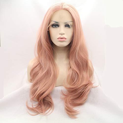 WQWIG Dark Pink Blonde Lace Front PerüCken für Frauen Beste Kunsthaar Lange WellenföRmige PerüCke