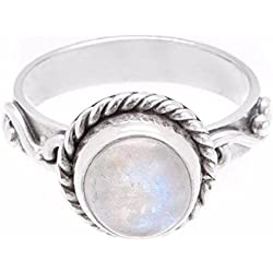 Rainbow Moonstone Ring - 925 Sterling Silver Round Gemstone Jewellery Natural Vintage Gemstone Boho Bohemian