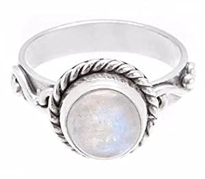 Rainbow Moonstone Ring - 925 Sterling Silver Round ...