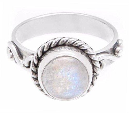 Mondstein Ring Stapelbar (Boho Lake  -  Sterling-Silber 925  Sterling-Silber 925      )