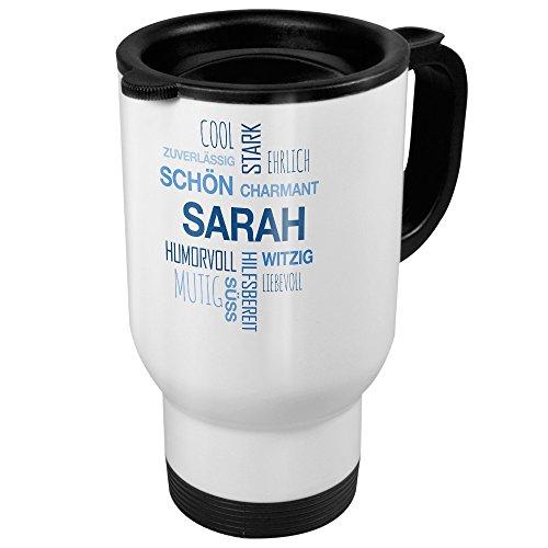 Thermobecher weiß mit Namen Sarah - Motiv Positive Eigenschaften (Tag Cloud) - Coffee To Go Becher, Thermo-Tasse 11