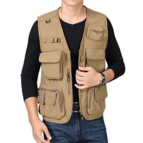 Dünn Baumwolle Vest,Multi Pockets Angeln Fotografie Weste Outdoor Männer Gilet Bequeme F