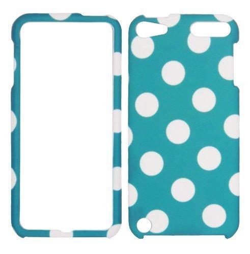 Türkis Polkadots iPod Touch 55. Generation AT & T Schutzhülle Hard Case Snap On Cover Displayschutzfolie Gummierte Matte Oberfläche Harte Muscheln