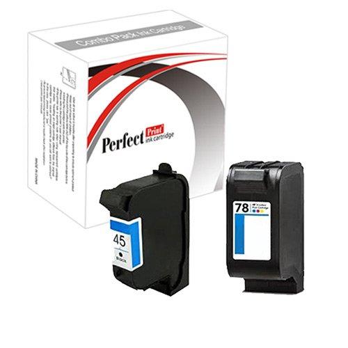 PerfectPrint - Conjunto de 2 Compatible HP 45 y 78 cartuchos de tinta Officejet 1170 G55 G85 G95 K60 K80 Photosmart 1000 1100 1115 1215 1218 1215vm 1218xi 1315 P1000 P1100 P1215 P1100xi P1215vm P1218 P1315 P1218xi
