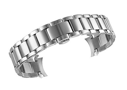 16mm Feinsilber Metall Uhrenarmband Ersatz überlegen feste 316l Edelstahl einstellbare Größe (Swatch Invicta)