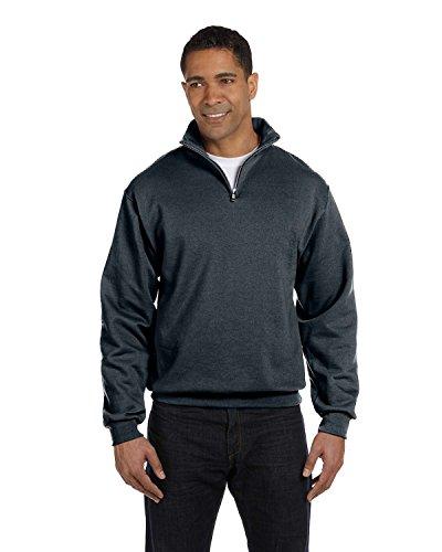 Jerzees Adult NuBlend Quarter-Zip Cadet Collar Sweatshirt (Black Heather) (XL) -