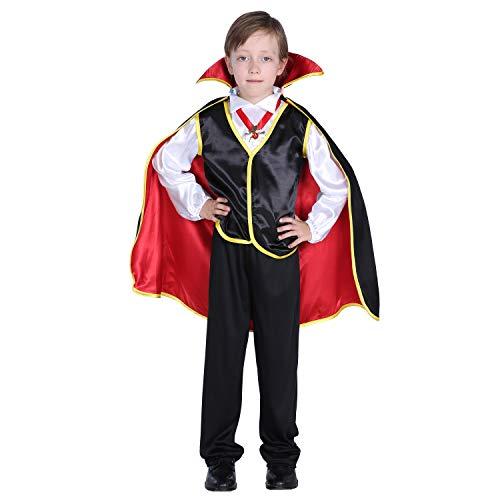 GIFT ZHIZHUXIA Kinder Halloween Kostüm Mädchen Jungen Halloween Cosplay 4-12 Angst Vampir zählen Kostüme Weihnachtsfeier Kleid Requisiten (Farbe : Photo Color, größe : L)
