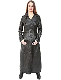 3ff3f252f89a2 Ladies Double Breasted Full Length Trench Real Leather Long Coat Liv Black