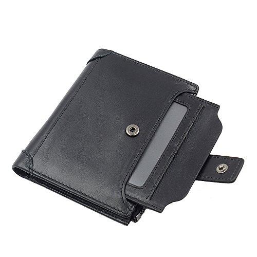 iPretty Herren echt Leder Geldbörse Portemonnaie Vintage Geldbeutel mit Reißverschluss kurz und lang schwarz Hoch-schwarz