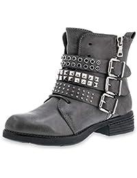 Marimo Damen Nieten Stiefel Biker Boots mit Schnallen Schnür Stiefeletten  in Lederoptik c05f04f841