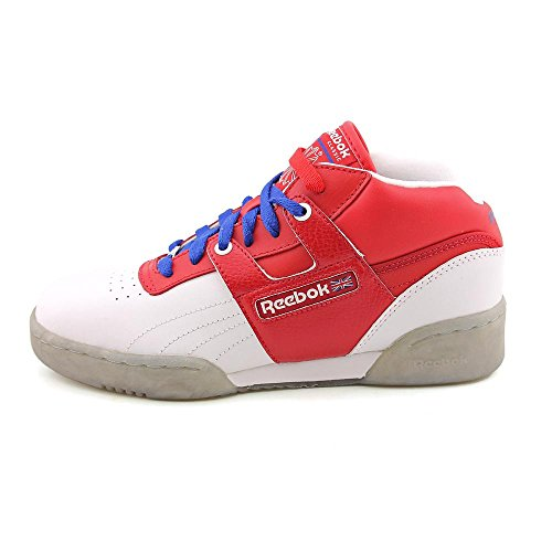 Reebok Workout Mid Ice Cuir Baskets White-Re-Royal-Ice