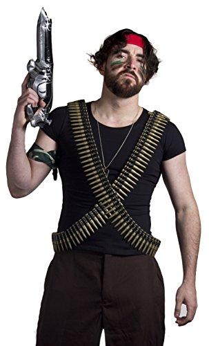 HERREN ARMY-KRIEGS SOLO JUNGLE MAN-FILM TV ZEICHEN KOSTÜM-TAGS BULLET GÜRTEL, CAMO FACEPAINT WAFFE ROT BANDANA/HALSTUCH, CAMOUFLAGE VON ILOVEFANCYDRESS ® (Jungle Man Kostüm)
