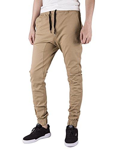 Italy Morn Herren Jogger Chino Hose Sweatpants Sporthose Jogging Baggy Jogginghose Slim Trainingshose Cargo Pants Twill Schwarz (M(Size32), Khaki) (Chino Hose Slim)