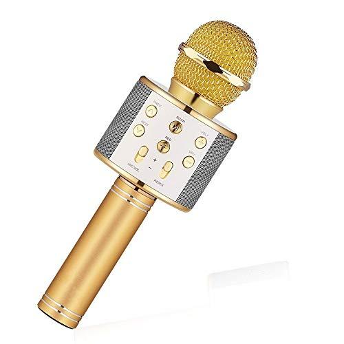 Mikrofon Ws858 Bluetooth Wireless Condenser Magic Karaoke Microphone Mobile Phone Player Mic Speaker Record Music,Gold