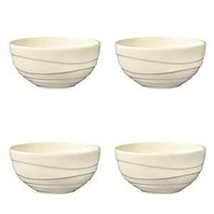 jamie oliver wellen set of 4 gro e 13 cm feine schale aus porzellan off wei porzellan keramik. Black Bedroom Furniture Sets. Home Design Ideas