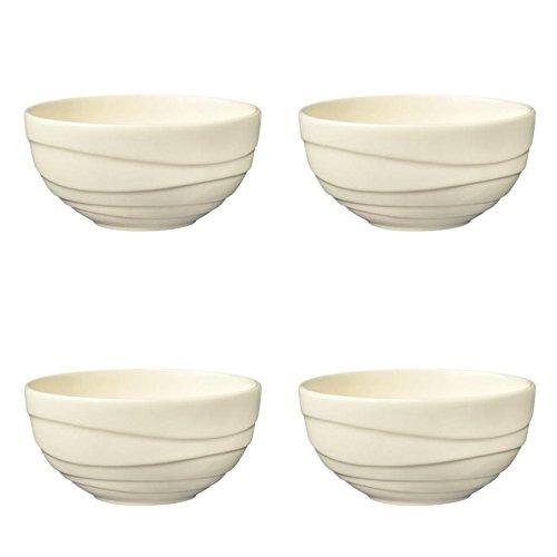 Jamie Oliver Waves Lot de 4 grands bols en porcelaine fine 13 cm, Blanc cassé en porcelaine Vaisselle en céramique moderne et contemporain pour servir, fruits, salade, soupe, céréales ou Snacks lave-vaisselle – Passe au micro-ondes