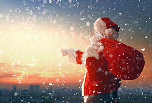 YongFoto 3x2m Vinyl Foto Hintergrund Weihnachten Santa Claus, die Stadt betrachtet Fotografie Hintergrund für Fotoshooting Fotostudio Requisiten -