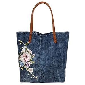 Grosse Shopper Tasche mit Rosen Handgemachte Schultertasche mit Ledergriffen braun blau Denim Tasche mit Griffen für…