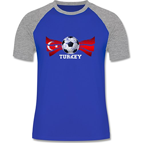EM 2016 - Frankreich - Turkey Fußball Vintage - zweifarbiges Baseballshirt für Männer Royalblau/Grau meliert