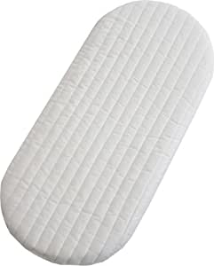 Mother Nurture Quilted Microfibre Foam Moses Basket or Pram Mattress Rounded Both Ends (74 x 28 x 4 cm)