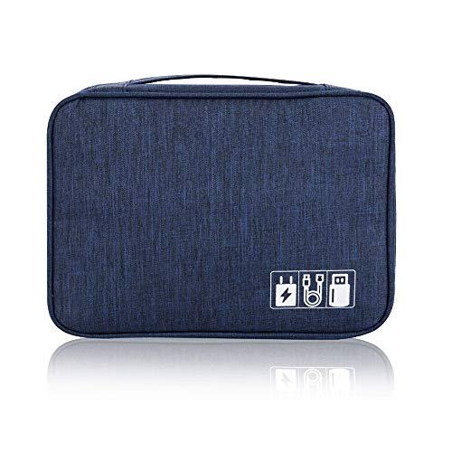 QearFun Bolsa de Viaje Cables Organizador Electrónica Accesorios Estuches Bolsa de Transporte Caja Organizador de Cables iPad, Kindle, Cables, Adaptador, Banco de energía, Joyas(Azul Oscuro)