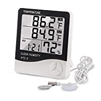 Digital Thermometer Hygrometer Indoor Outdoor Temperature Meter Humidity Monitor with LCD Alarm Clock, 3M Probe Cord For Bedroom Greenhouse Garage Warehouse, Fahrenheit or Celsius