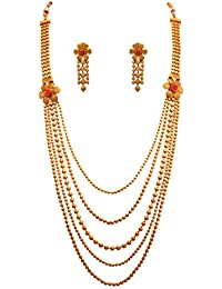 JFL - Traditional Ethnic One Gram Gold Plated Stones & Diamond Designer Long Necklace Set With Earring For Women...