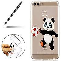 Uposao Huawei P Smart Handyhüllen Transparent Weiche Silikon Durchsichtig TPU Kratzfest Schutzhülle Crystal Clear Ultra Dünn Silikonhülle Handytasche,Cartoon Panda
