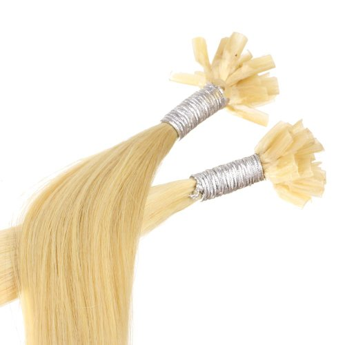 Just Beautiful Hair and Cosmetics Lot de 2 packs de 25 mèches d'extensions de cheveux naturels Remy Onglets en kératine en forme de U Blond doré (22) 30 cm
