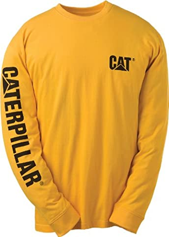 Caterpillar Men's Big-Tall Trademark Banner Long Sleeve Tee, Yellow, XX-Large/Tall