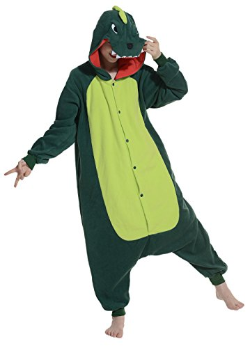 Fandecie Pijama Dinosaurio Verde, Onesie Modelo Animales para adulto entre 1,60 y 1,75 m Kugurumi Unisex.