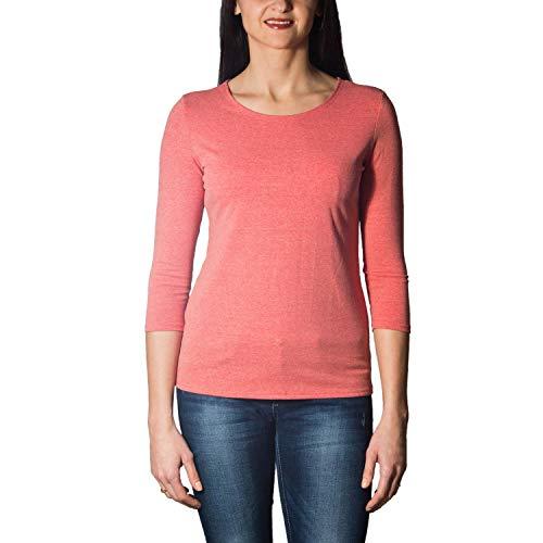 Alkato Damen Shirt 3/4 Arm mit Rundhals, Farbe: Koralle/Melange, Größe: M