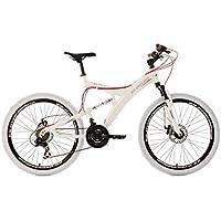 "KS Cycling Top Spin VTT tout suspendu 26"" Blanc/Rouge TC 51 cm"