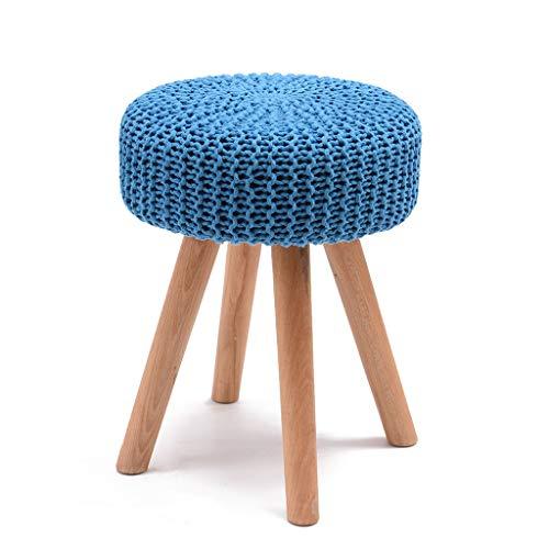 LSLMCS Gepolsterter Hocker - Stuhlhocker Set 4 Beine AndHandmade Gestrickter gewebter Baumwollbezug (5 Farben) (Color : E) -