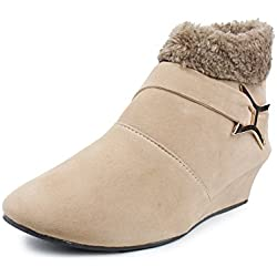 Bonzer SUN-905-BOOT Stylish Fashionable Trendy Footwear Collection – Boots for Women's (41, Beige)