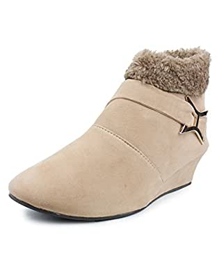 Bonzer SUN-905-BOOT Stylish Fashionable Trendy Footwear Collection – Boots for Women's (36, Beige)