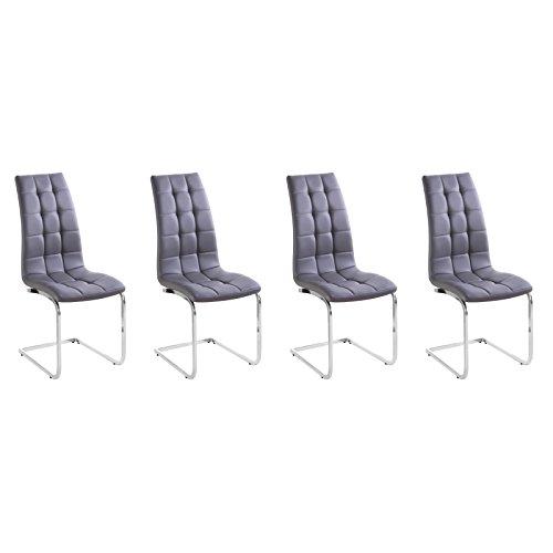 MACO Import Freischwinger 4er Set grau Esszimmerstühle Schwingstühle Kunstleder
